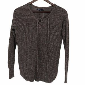 American Eagle brown laced neck knit sweater